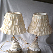 Very Charming Pair Vintage Porcelain Lace Lamps