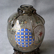 Gorgeous Antique Moser Glass Chinoiserie Enamel Vase