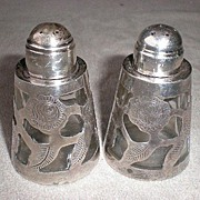 Fabulous Mexican Sterling Silver Overlay Salt /Pepper Shakers
