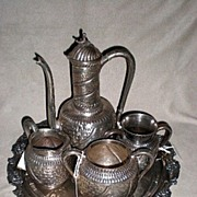"Magnificent Victorian Silver Plate ""Islamic"" Pattern Tea Set"
