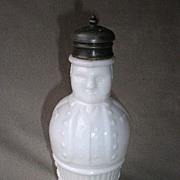 Fantastic Antique Figural Milk Glass Atterbury Shaker