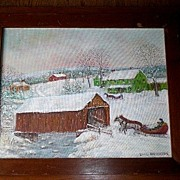Original Vintage Folk Art Oil Painting - Covered Bridge