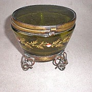 Gorgeous Antique Green Glass & Enamel Dresser Box