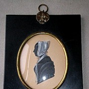Marvelous 19th Century Miniature Silhouette Portrait - Woman