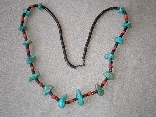 Stunning Turquoise Nugget w/ Red & Black Coral Necklace