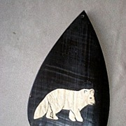 Fabulous Whale Baleen with Applied Leather Fox