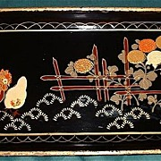 Shabby Chic Japanese Black Lacquered Chicken Tray
