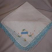Pretty White Vintage Hanky With Crocheted Blue Edges And Flowers