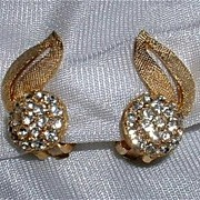 Ravishing Rhinestone Gold Toned Earrings