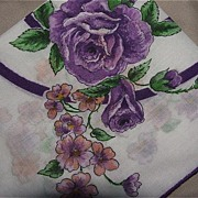 Passionate Purple Circles and Flowers Hankie