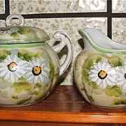Charming Hand Painted Daisy Cream And Sugar Set