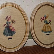 Pretty Pair of Vintage Needlepoint Framed Ovals
