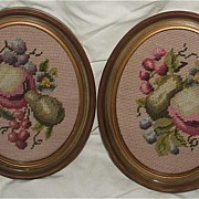 Pretty Pair Cross Stitch Fruit Ovals / Old Molded Frames