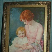 Art Deco Mother And Child /  John Knowles Hare Print / Nice Period Wooden Frame