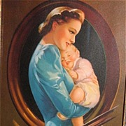 "1930's Jules Erbit ""Sheltering Arms""/ Mother / Baby / Nice Old Frame"