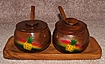 Vintage Wooden Hawaiian Condiment Set