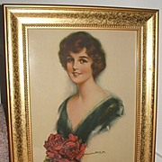 1920's Beauty With Red Roses / John Knowles Hare