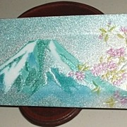 Pretty Mount Fuji Enamel Decorative Tray