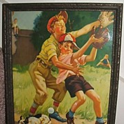 "SOLD Hy Hintermeister ""All Balled Up"" Baseball Calender Art"