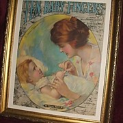 "Antique ""Ten Baby Fingers"" Sheet Music  / Mother And Child / Framed"