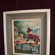 "SOLD Hintermeister / "" The Call That Rescued"" / Baby / Dog / Shabby Chic Frame"