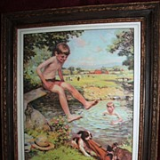 "SOLD ""The Swimming Hole"" Antique Print And Frame Victor Anderson"