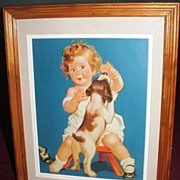 Precious Baby Dog And Cookie 1940's Print/ Matted/Ready to Hang