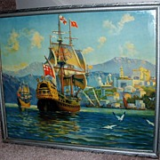 "R. Atkinson Fox ""Return Of The Treasure Fleet"" Galleon / Sailing Ship"
