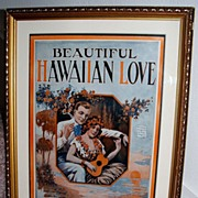 """Beautiful Hawaiian Love"" 1920's Sheet Music Art"