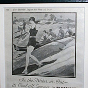 1929 Hawaii Advertisement  / Surfing / Framed In Pier Mirror