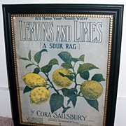 Antique Lemons And Limes Sheet Music / Framed For Kitchen Decor