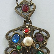 Antique Victorian Costume Jewelry Necklace / Brass / Rhinestones