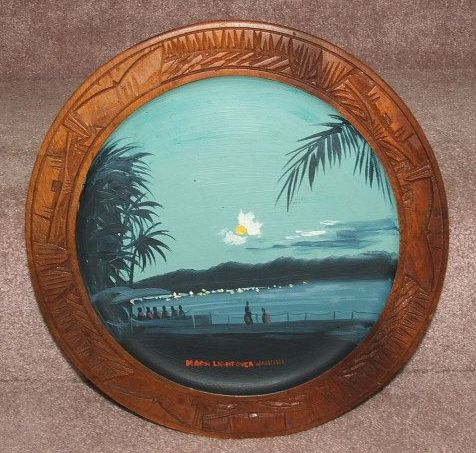 Hawaiian Hand Painted Wooden Plate  / Moonlight Over Waikiki / Hawaii
