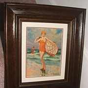 1930's Bathing Beauty Print / Matted / Shadowbox Frame