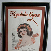 1920 Hawaii Sheet Music Honolulu Eyes / Matted And Framed / Wonderful Graphics