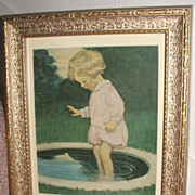 Precious Jesse Wilcox Smith Little Girl In Pond / Matted In Nice Frame
