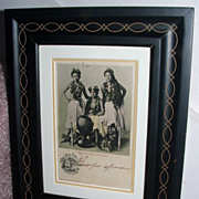 Antique 1905 Hawaiian Postcard / Hula Dancers / Matted And Framed