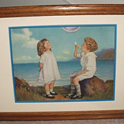 So Sweet 1930's Blowing Bubbles / Calender Art/ Little Boy & Girl /Matted & Framed