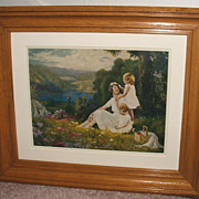 Mother Children Landscape 1930's Calender Print / Matted & Framed