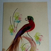 Postcard Size Mexican Folk Art Bird Feather Picture