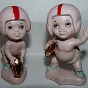 Delightful Baby Football Players Salt And Pepper Shakers