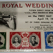 The Royal Wedding 1956 Three Postage Stamps Air Mail from Monaco