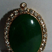 Just For Fun Faux Jade And Rhinestone Locket / Pendant