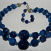 Royal Blue Double Strand Plastic Bead Necklace