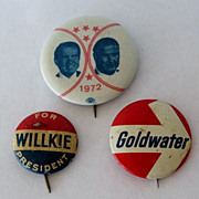 Willkie Goldwater Nixon / Agnew Political Presidential Pins