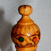 Pyrography Hand Painted Wooden Perfume Vial / Bulgaria Folk Art