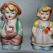 Bisque Boy And Girl Salt And Pepper Shakers / Made In Japan