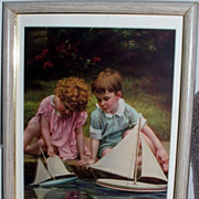 Children  Sailboat  1920's Calender Print / Matted and Framed