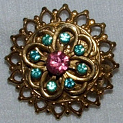 Pink Blue Rhinestone Gold Toned 1940's Pin