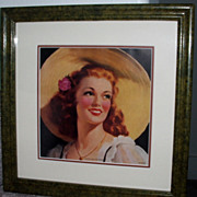 """Lovely As The Rose"" Vintage Calender Print / Beautiful Girl / Matted And Framed"